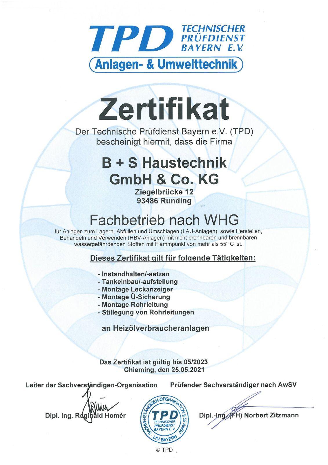 TPD-Zertifikat Fachbetrieb WHG-1