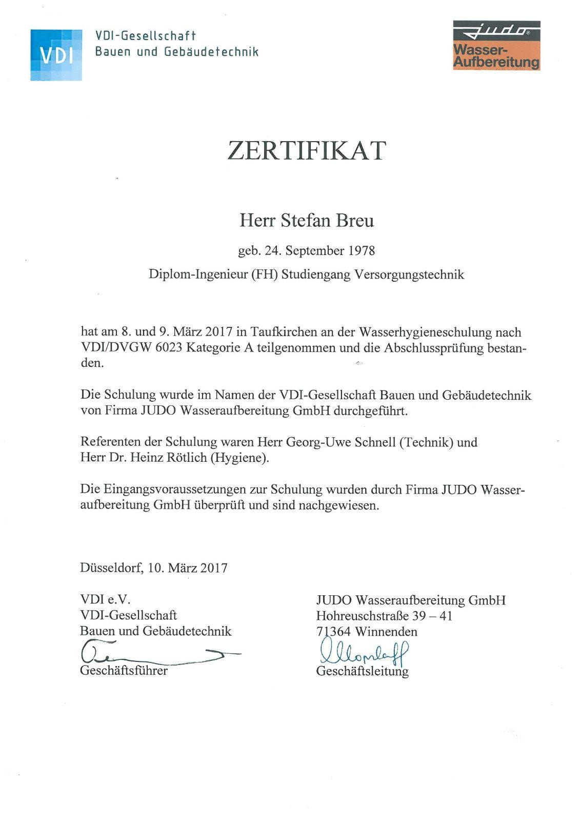 VDI-Zertifikat-Hygieneschulung Trinkwasser-1